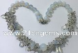 CGN354 19.5 inches chinese crystal & opal beaded necklaces