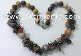 CGN361 19.5 inches chinese crystal & mookaite beaded necklaces