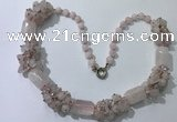 CGN385 23 inches chinese crystal & rose quartz beaded necklaces