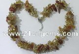 CGN410 19.5 inches chinese crystal & red agate chips beaded necklaces