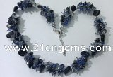 CGN412 19.5 inches chinese crystal & black agate chips beaded necklaces