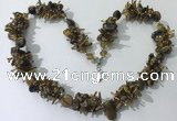 CGN416 19.5 inches chinese crystal & yellow tiger eye chips beaded necklace