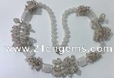 CGN450 25.5 inches chinese crystal & rose quartz beaded necklaces