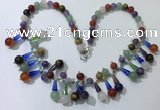 CGN507 21 inches chinese crystal & mixed gemstone beaded necklaces