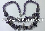 CGN515 23.5 inches chinese crystal & amethyst beaded necklaces