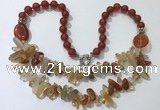 CGN520 23.5 inches chinese crystal & red agate beaded necklaces