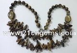 CGN523 23.5 inches chinese crystal & yellow tiger eye beaded necklaces