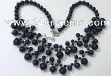 CGN563 19.5 inches stylish 4mm - 12mm blue goldstone beaded necklaces