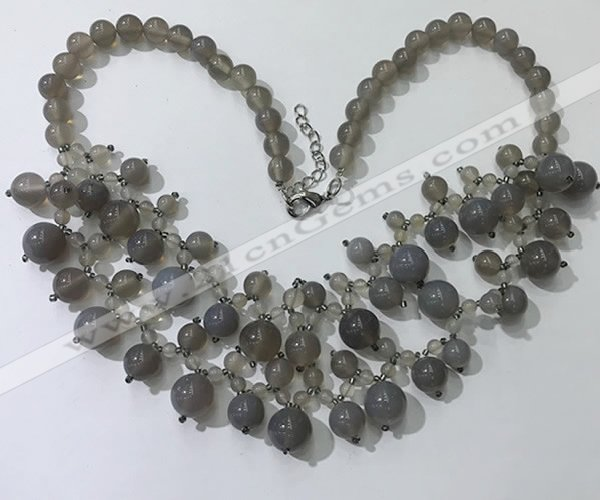 CGN568 19.5 inches stylish 4mm - 12mm grey agate beaded necklaces