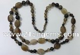 CGN581 23.5 inches striped agate gemstone beaded necklaces