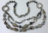 CGN595 23.5 inches striped agate gemstone beaded necklaces