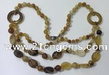 CGN596 23.5 inches striped agate gemstone beaded necklaces