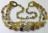 CGN612 24 inches chinese crystal & striped agate beaded necklaces