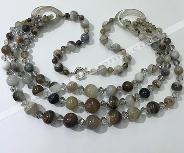 CGN620 24 inches chinese crystal & striped agate beaded necklaces
