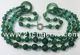CGN641 24 inches chinese crystal & striped agate beaded necklaces