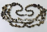 CGN686 23.5 inches chinese crystal & yellow tiger eye beaded necklaces