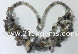 CGN701 22.5 inches chinese crystal & grey agate beaded necklaces