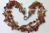 CGN712 22 inches fashion 3 rows red agate beaded necklaces