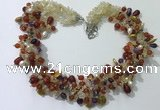 CGN716 21.5 inches stylish mixed goldstone beaded necklaces