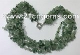 CGN726 19.5 inches stylish 6 rows green aventurine chips necklaces