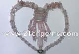 CGN810 19.5 inches chinese crystal & rose quartz statement necklaces