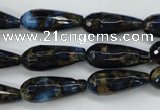 CGO194 15.5 inches 10*30mm faceted teardrop gold blue color stone beads