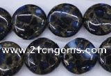CGO204 15.5 inches 20mm flat round gold blue color stone beads