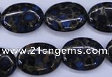 CGO208 15.5 inches 13*18mm oval gold blue color stone beads