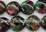 CGO36 15.5 inches 20mm flat round gold multi-color stone beads