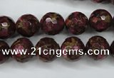 CGO65 15.5 inches 12mm faceted round gold red color stone beads