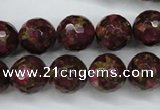 CGO66 15.5 inches 14mm faceted round gold red color stone beads