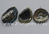 CGP3080 40*50mm - 45*55mm freeform druzy agate pendants