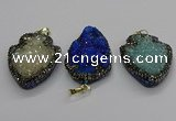 CGP3112 30*45mm arrowhead druzy agate pendants wholesale