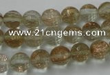CGQ25 15.5 inches 10mm faceted round gold sand quartz beads