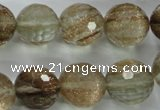 CGQ28 15.5 inches 16mm faceted round gold sand quartz beads