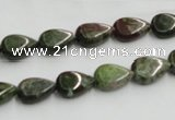 CGR08 16 inches 8*12mm flat teardrop green rain forest stone beads