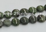 CGR15 16 inches 10mm flat round green rain forest stone beads wholesale