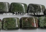 CGR18 16 inches 15*20mm rectangle green rain forest stone beads wholesale