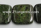 CGR20 16 inches 30*30mm square green rain forest stone beads wholesale