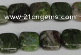 CGR32 15.5 inches 10*10mm square green rain forest stone beads