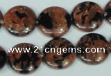 CGS209 15.5 inches 16mm flat round blue & brown goldstone beads wholesale
