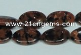 CGS211 15.5 inches 13*18mm oval blue & brown goldstone beads wholesale