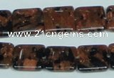 CGS215 15.5 inches 14*14mm square blue & brown goldstone beads wholesale