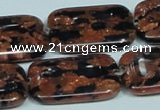CGS218 15.5 inches 20*30mm rectangle blue & brown goldstone beads