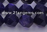 CGS458 15.5 inches 10mm faceted nuggets goldstone beads wholesale