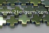CHE1010 15.5 inches 10*10mm cross plated hematite beads wholesale
