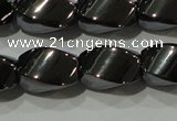 CHE163 15.5 inches 8*12mm twisted rice hematite beads
