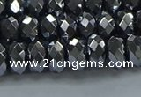 CHE2002 15.5 inches 5*8mm faceted rondelle hematite beads