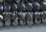 CHE2003 15.5 inches 6*10mm faceted rondelle hematite beads
