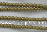 CHE419 15.5 inches 2mm round matte plated hematite beads wholesale